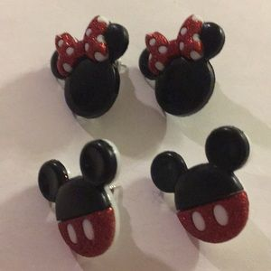 Set of 2 Mickey and Minnie Post Earrings